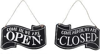Pumpumly Percha de puerta de madera rústica abierta y cerrada con cuerda para colgar vintage negocios/tienda/bar/cafetera,...
