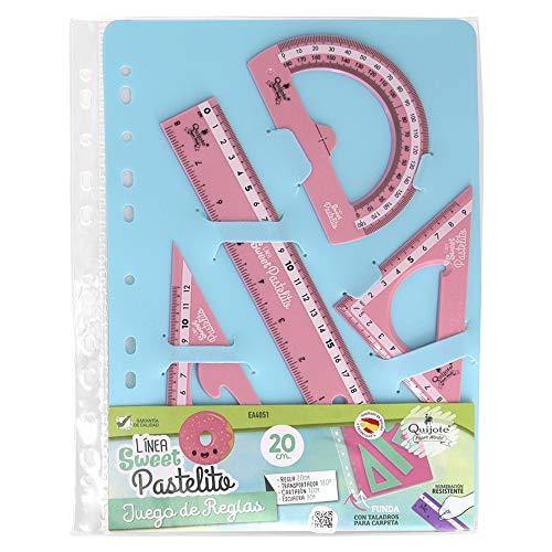 REGLAS DE PLÁSTICO QUIJOTE - Reglas Sweet Pastelito, medidas desde 9 hasta 30cm, colores pastel, con estuche de plástico, para uso escolar o universitario - Set 30cm Rosa
