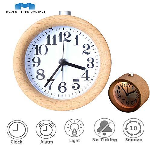 Muxan - Despertador silencioso sin tic-tac, segunda mano, mesita de noche de madera con luz nocturna para dormitorio, a batería