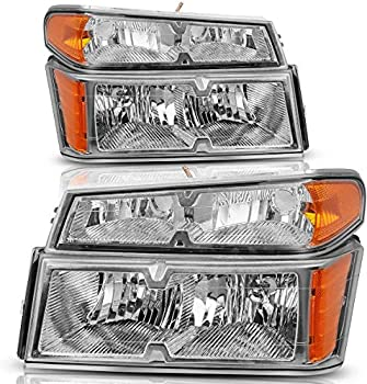ADCARLIGHTS Compatible with 2004 2005 2006 2007 2008 2009 2010 2011 2012 Chevy Colorado / GMC Canyon Headlights with Bumper Lights Chrome Housing Amber Reflector Driver and Passenger Side