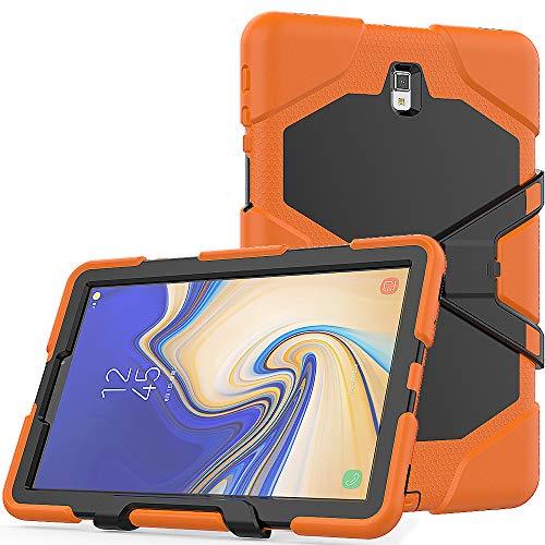 TianTa Funda para Galaxy Tab S4 10.5 SM-T835, Heavy Duty Protector de Silicona + PC a Prueba de Golpes con Protector Integrado & Soporte para Galaxy Tab S4 10.5' 2018 (SM-T830/T835/T837) - Naranja
