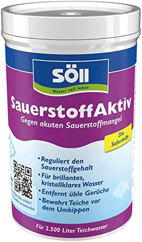 Söll 15260 SauerstoffAktiv Soforthilfe bei akutem Sauerstoffmangel im Teich 250 g - Teichpflegemittel reguliert Sauerstoff und entfernt üble Gerüche im Gartenteich Fischteich Koiteich