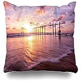 K.e.n Dekokissenbezug NGA Blau Asien Farbiger Himmel Bei Sonnenuntergang Pilai Natur Andaman Beach Bridge Wolkenfarbe Kissenbezug