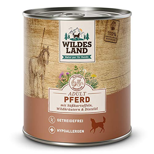 Wildes Land   Nassfutter für Hunde   Nr. 3 Pferd   6 x 800 g   mit Süßkartoffeln, Wildkräutern & Distelöl   Glutenfrei   Extra viel Fleisch   Beste Akzeptanz und Verträglichkeit