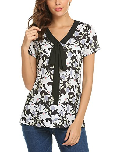 Bricnat damska bluzka w kwiaty, krótki rękaw, szyfon, górna część koszula, z kokardką, elegancka na lato, do noszenia na co dzień