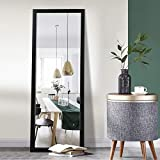 Elevens Full Length Floor Mirror 43'x16' Large Rectangle Wall Mirror Hanging or Leaning Against Wall for Bedroom, Dressing and Wall-Mounted Thin Frame Mirror - Black(No Stand)