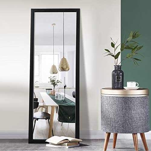 """Elevens Full Length Door Mirror 43""""x16"""" Large Rectangle Wall Mirror Hanging or Leaning Against Wall for Bedroom, Dressing and Wall-Mounted Polystyrene Frame Mirror - Black(No Stand)"""
