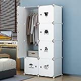 KOUSI Dresser Small Closet Wardrobe Drawer Storage for Clothes Small Wardrobe Storage for Small Spaces Clothes Storage Dresser, Capacious Customizable, White, 5 Cubes 1 Hanging Clothes