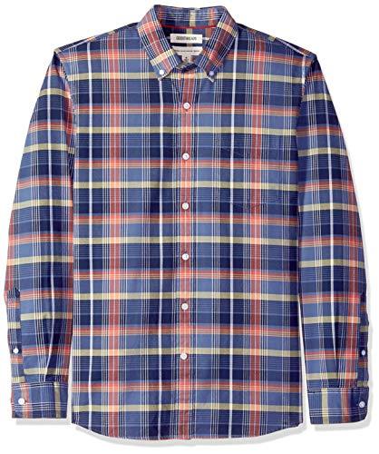 Marca Amazon - Goodthreads - Camisa Oxford a cuadros de manga larga y corte estándar para hombre, Azul (Denim Red Plaid Den), US L (EU L)