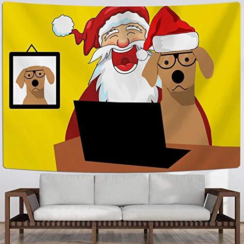 N/A Impresión 3D tapices Tapiz de Feliz Navidad para Colgar en la Pared y Tapiz de Pared para Perros, alfombras Textiles para el hogar, Tapiz de decoración Colorido Amarillo Regalo de Arte Moda