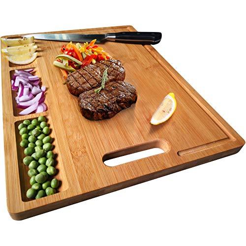 NIUXX Tabla de Cortar, Tablas de Cortar de Bambú, Tabla para Queso o Pan, Tablas de Cocina para Servir, Tabla de Cortar con Ranuras para Jugo y 3 Compartimentos Incorporados, 38.5x27x1.5cm