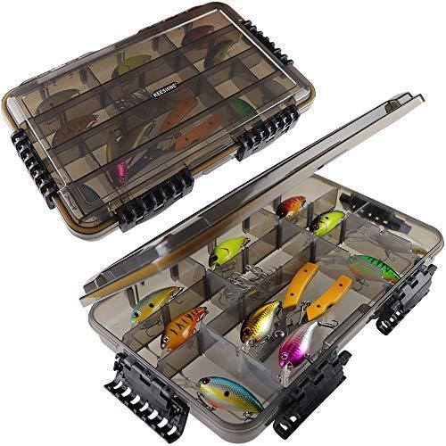 "KEESHINE Waterproof Airtight Fishing Tackle Box, 2 PACKS 3700 Storage Trays Boxes, Organizer Boxes with DIY Adjustable Dividers (Waterproof 3700 2 Packs (14"" x 8.66"" x 2.17""))"