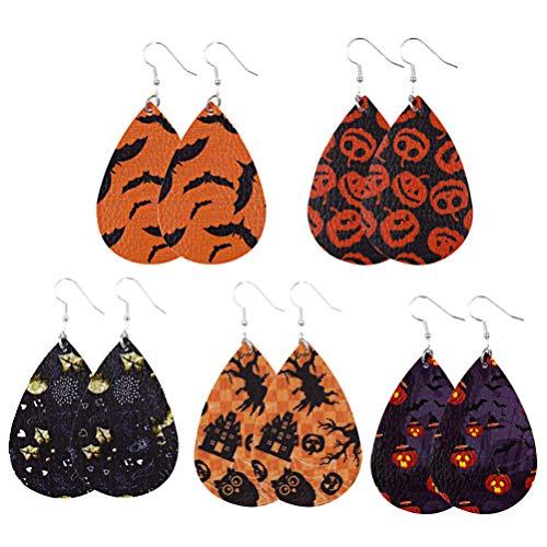 VALICLUD Pendientes de Cuero de Imitación de Halloween con Estampado de Calabaza de Murciélago Pendientes Colgantes de Gota de Agua para Mujeres Disfraz de Niñas Suministros de Fiesta de