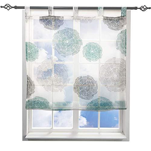 LiYa Raffrollo mit Schön Feuerwerk Druck Design Raffgardine Voile Transparent Vorhang (BxH 80x150cm, Blau)