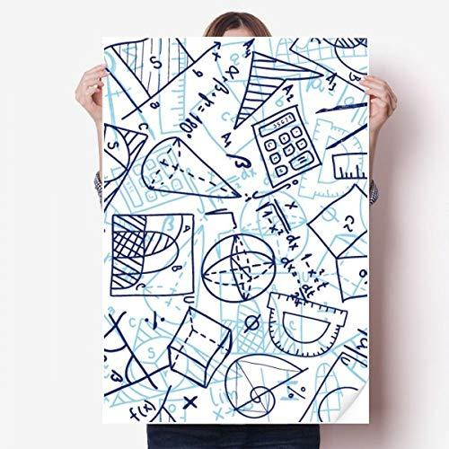 DIYthinker blauw hand geschilderd wiskunde liniaal calculator Illustratie Vinyl muur Sticker Poster muurschildering behang kamer Decal 80X55Cm