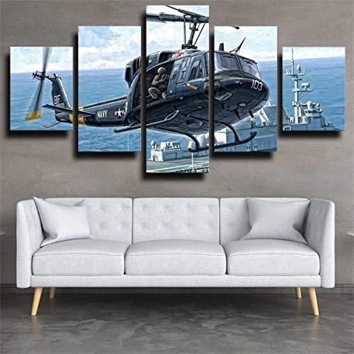 IJNHY Cuadro Helicóptero De Aviones Militares 5 Piezas De Arte De Pared XXL Impresiones En Lienzo 5 Piezas Cuadro Moderno para El Arte De La Pared del Hogar 150×80Cm HD Impreso Mural Enmarcado