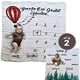Baby Monthly Milestone Blanket Set of 2 | Gender Neutral Boy Girl Design| Adventure Theme Newborn Swaddle Photo Backdrop| 100% Bamboo Muslin Makes These The Softest Baby Blankets