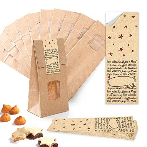 10pezzi piccolo marrone blocco di fondo borse con finestra + inserto pergamina (10,5x 6,5x 29cm) + 10Beige Nero Rosso Natale Internationale lingue di Natale di sacchetti di carta