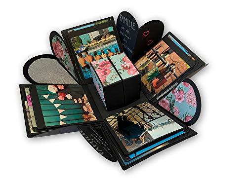 ewtshop® Explosionsbox, Geschenkbox zum selbst gestalten, mit integriertem Fotoalbum, DIY-Box für Geburtstage, Valentinstag, Weihnachten und vieles mehr, Explosion Überraschung