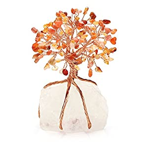 CrystalTears Carnelian Crystal Money Tree Feng Shui Ornament Copper Wrapped on Clear Quartz Cluster Base Figurine Decoration for Wealth and Luck