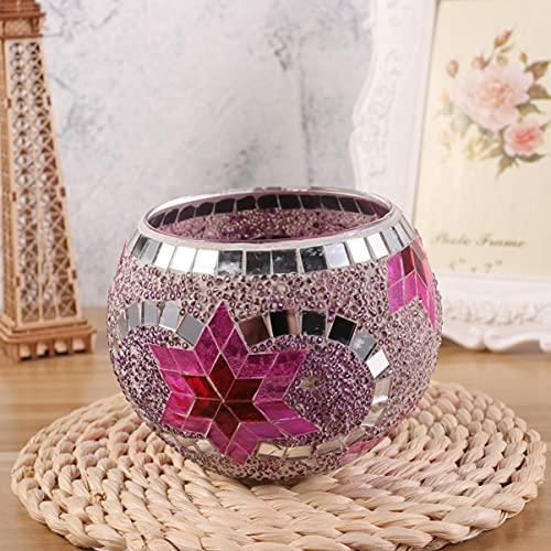 SXYRN Mosaic Patch Candle Holder Glass Pink Memories Candlestick Holder Tea Light Cup for Hotel Wedding Restaurant Home Christmas Decor