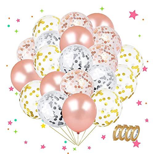 Sunshine smile 50 Stück Luftballons Rose Gold , Ballons,konfetti Luftballons,Luftballons Hochzeit,Latex Glitter Ballons,Rose Gold Konfetti Ballon,Verdicken 3.2G, 4 Farbe.