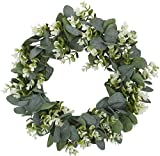 Artificial Eucalyptus Wreath 12inch 15inch Green Leaf Wreath for Spring Summer Outdoor Festival Celebration Front Door Wall Window Party Decoration Farmhouse Decor (12 Inch)