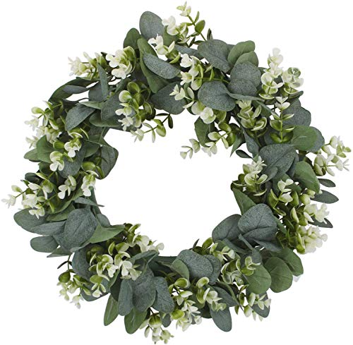 Shiningwe Home decorations! Christmas Wreath Hanging White Green Wreath Pendant Wreath Rings 40cm 16in Artificial Garland Flowers Outdoor Door Wreath for Decoration, Christmas, Weddings, Party