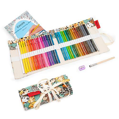 Lápices de colores en estuche enrollable de tela, libro de colorear, 36 lápices, basado en aceite, no tóxico, núcleo suave de 3,5 mm, estuche, sacapuntas, accesorio de extensión (Cat)
