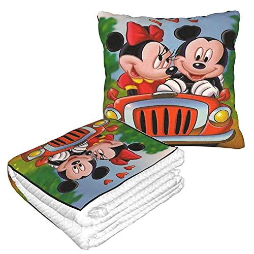 Manta de almohada Mickey Mouse y Minnie para el hogar, dormitorio, sofá, coche, interior, exterior, camping, mujeres y hombres