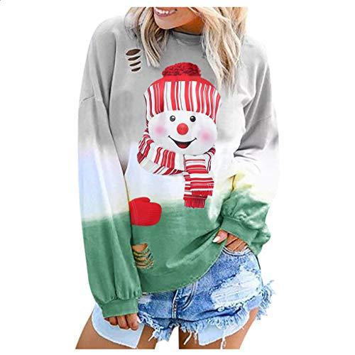 JiaMeng Damen Langarm Rundhals Sweatshirt Schneemann Druck Bluse Weihnachten Steigung Farbe Oberteil Mode Bequem Casual Pulli