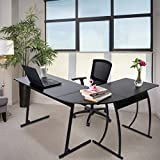 CHADIOR L Shaped Corner Computer Gaming Desk 58'L x 44'W Modern Workstation Table for Small Space Home Office, Black