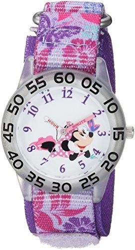 Disney Girls Minnie Mouse Analog-Quartz Watch with Nylon Strap, Purple, 16.2 (Model: WDS000497)