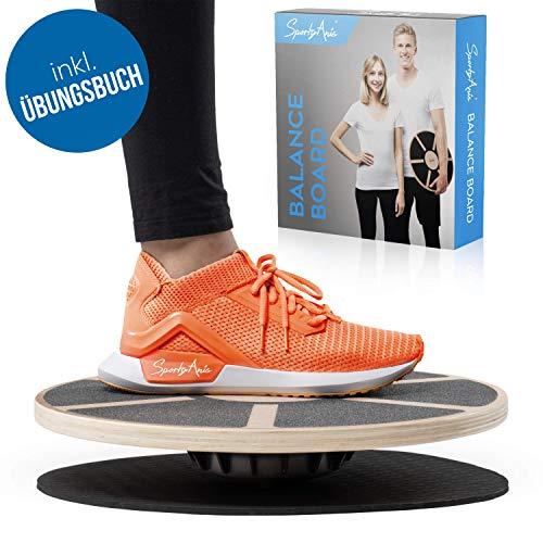 SportyAnis® Premium Balance-Board Holz inkl. Übungsbuch und optional Unterlegmatte, Durchmesser 40 cm - Therapiekreisel für Physiotherapie zur Stärkung der Tiefenmuskulatur (mit Unterlegsmatte)