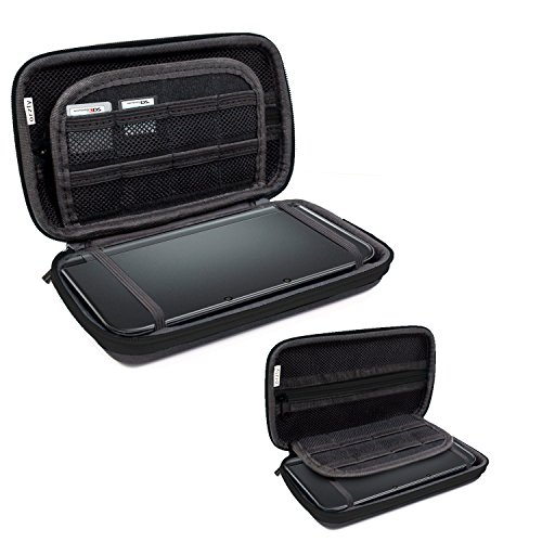 3DS XL Case, Orzly Carry Case for New 3DS XL or Original Nintendo 3DS XL - Protective Hard Shell Portable Travel Case Pouch for 3DSXL Consoles with Slots for Games & Zip Pocket - BLACK on Black