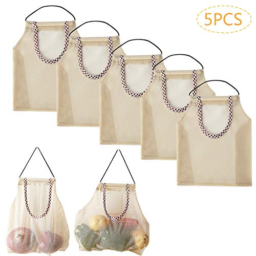 X-BLTU 5 stuks netjes boodschappentas, herbruikbaar mesh katoen boodschappennet draagbaar boodschappennet organisator voor groenten en fruit hangende opslag verpakking