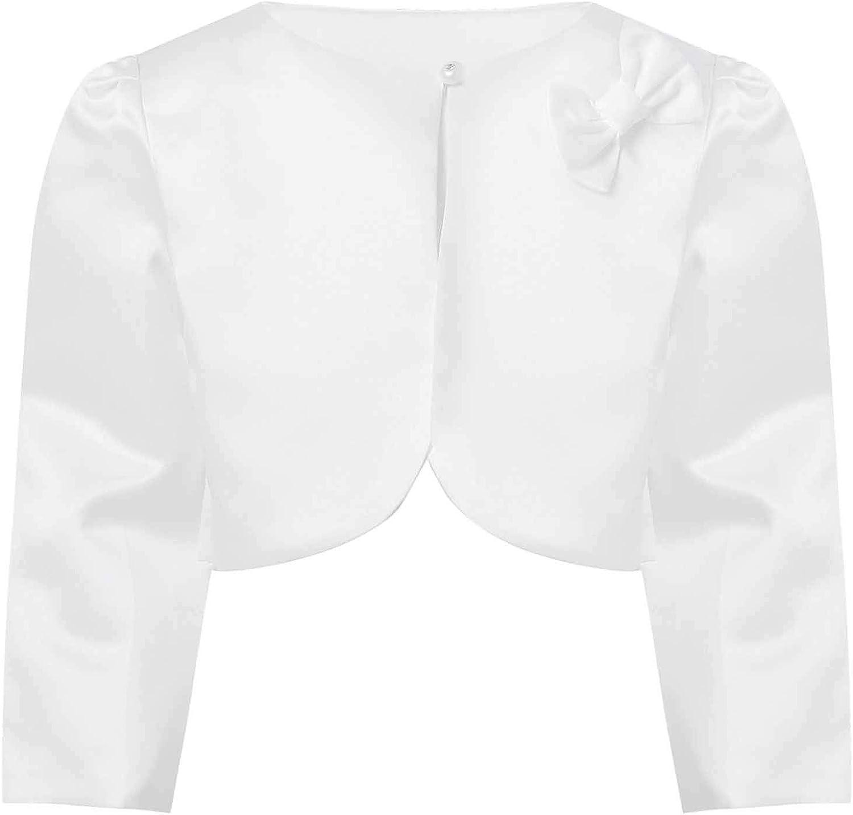 YONGHS Kids Flower Girls Party Dress Cape Coat Long Sleeve Bowknot Bolero Cardigan Shrug Dressy Wrap Tops