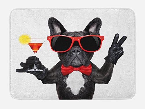 Lunarable Funny Bath Mat, French Bulldog Holding Martini Cocktail Ready for The Party Nightlife Joy Print, Plush Bathroom Decor Mat with Non Slip Backing, 29.5' X 17.5', Black and White
