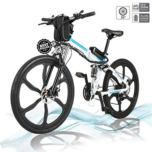 Hiriyt Faltbares E-Bike,36V 250W Elektrofahrräder, 12.8A Lithium Batterie Mountainbike,26 Zoll Große Kapazität Pedelec mit Lithium-Akku und Ladegerät (Weiß Blau)