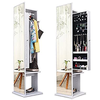 NEX 360 Degree Rotatable Jewelry Cabinet, Multipurpose Standing Jewelry Armoire With Full Length Mirror, Sliding Jewelry Cabinet Organizer, Garment Rack & 4 Hooks