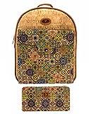 J.S ONDO Mochila Mujer de Corcho. 2 Pcs Bolso mochila de corcho artesanal + Billetero monedero con estampado. Bolso mochila Ecológico. Fabricado con corcho Portugués. (Estampado 3)