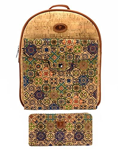 J.S ONDO Zaino donna in sughero, 2 pezzi, borsa zaino in sughero artigianale + portafoglio con stampa, borsa zaino ecologico realizzato in sughero portoghese. (stampa 3)