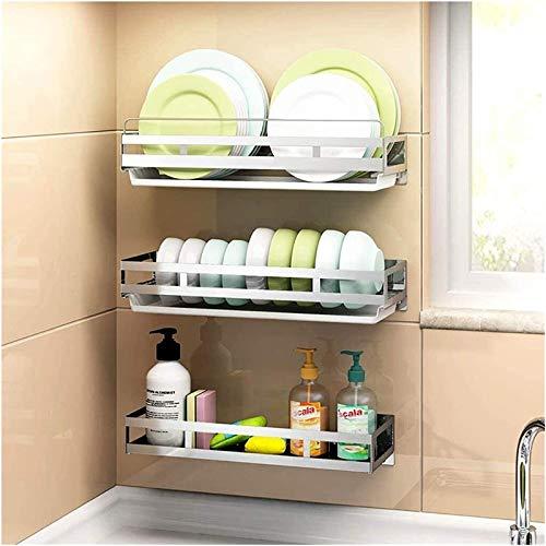 Casa cocina Estante de almacenamiento, Combinación de bricolaje 304 montado en la pared de acero inoxidable estante cuchillería de la cocina, estante for platos/placa de rack/estante de la botella