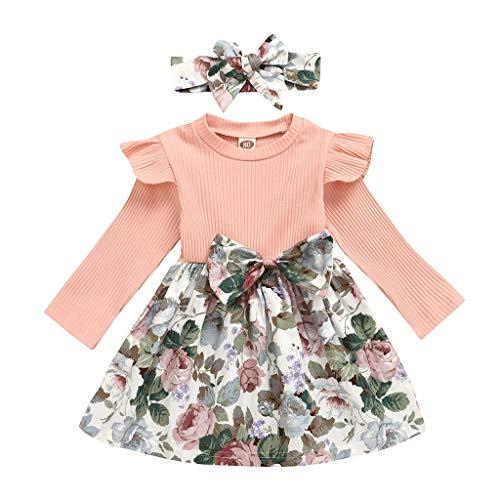 NHNX Kinder Baby Mädchen Langarm Blumen Kleider Kleid Stirnband Haarband 2 Stück Bekleidungssets, Girls Prinzessin Outfits Kleidung Frühling Sommer Set Rosa, 1-4 Jahre