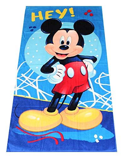 Disney Toalla de Playa Minnie Mouse, Varios diseños de 70x140 cm, para niños, niñas y niños, 100% algodón (Azul)