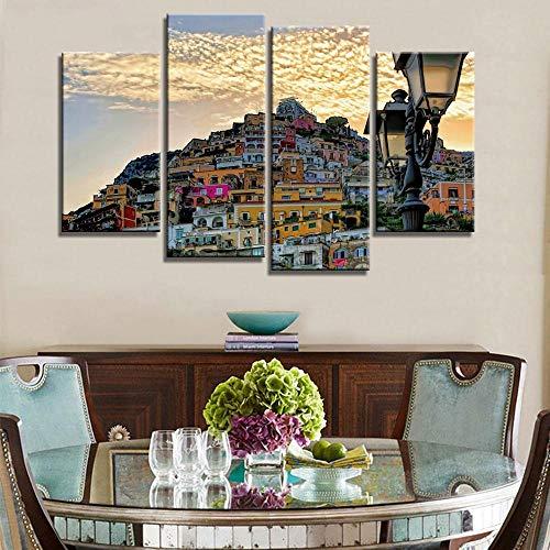 ANTAIBM® Kinderzimmer Schlafzimmer dekorative 4 Malerei Holzrahmen - verschiedene Größen - verschiedene Stile4 Stück Natur Landschaft See In Lake Sudtirol Italien Home Decoration Leinwand Poster Print