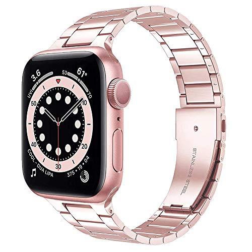 TaiWang Serie Compatible Apple Serie 6 Band Serie, [Ultra Delgada] Banda Ajustable de Acero Inoxidable para la Serie SE de Apple Watch SE 38mm 40 mm (Negro),Rosado,1.6/1.7 Inches