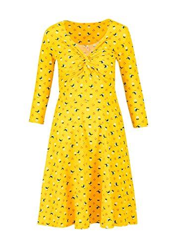 Blutsgeschwister Kleid hot Knot Robe 3/4arm Knielang Sommerkleid V-Ausschnitt (Gelb, xx_l)