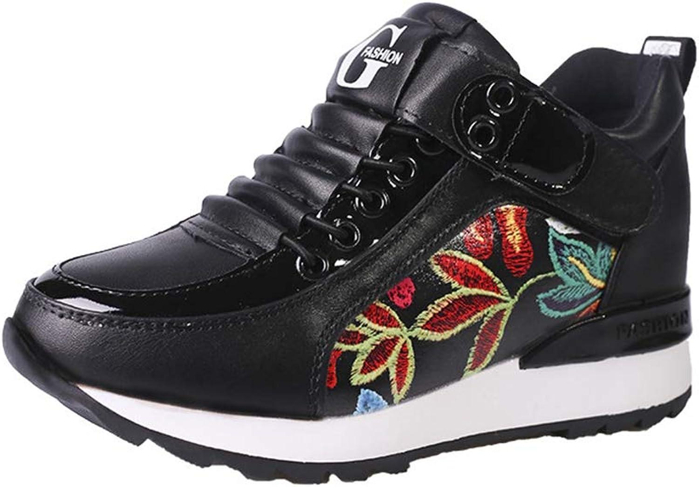 JOYBI Women Fashion Casual Platform Sneakers Comfort Tenis Non Slip Embroidered Lace Up Walking shoes