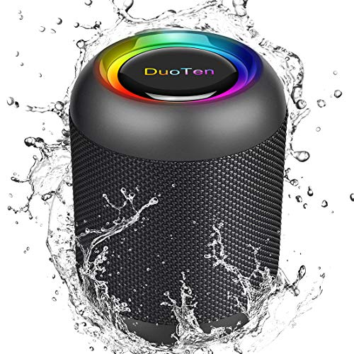 DuoTen Altavoz Bluetooth, Altavoz Portatil Bluetooth Con Luces, IPX7, 24 Hora, 20W, Sonido Envolvente De 360 °, Graves Profundos, TWS, Micrófono Incorporado, AUX, Micro SD, Para Fiestas, Al Aire Libre